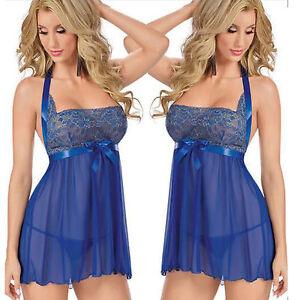 26b5c966429 Women s Sexy Lingerie Lace Dress Blue Underwear Sleepwear+G-string ...