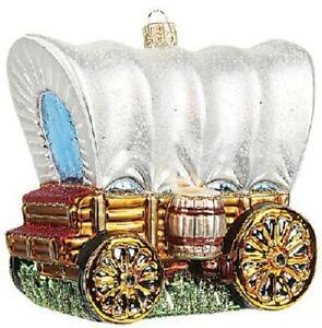 Western-Covered-Wagon-Polish-Glass-Christmas-Ornament-Made-in-Poland-Decoration