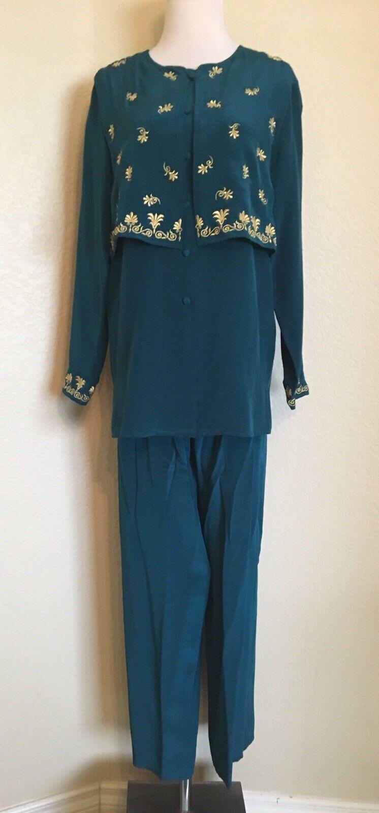 Diane Von Furstenberg årgång Silk Embroideröd Tunic Top Pantsuit Storlek XS ny