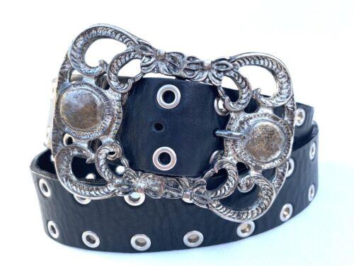 GABRIEL Black Leather Grommet Belt W Large Western
