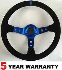 SUEDE CORSICA DRIFT BLUE DEEP DISH STEERING WHEEL FIT OMP SPARCO MOMO BOSS KITS