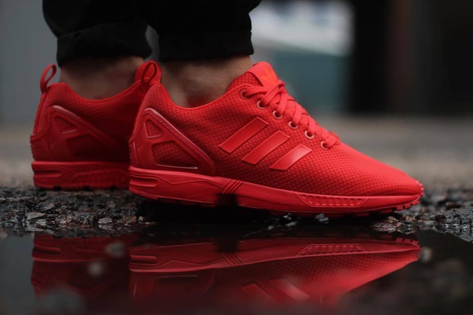 NEW Adidas Originals ZX Flux TRIPLE RED October Men's Shoes Scarlet S78344