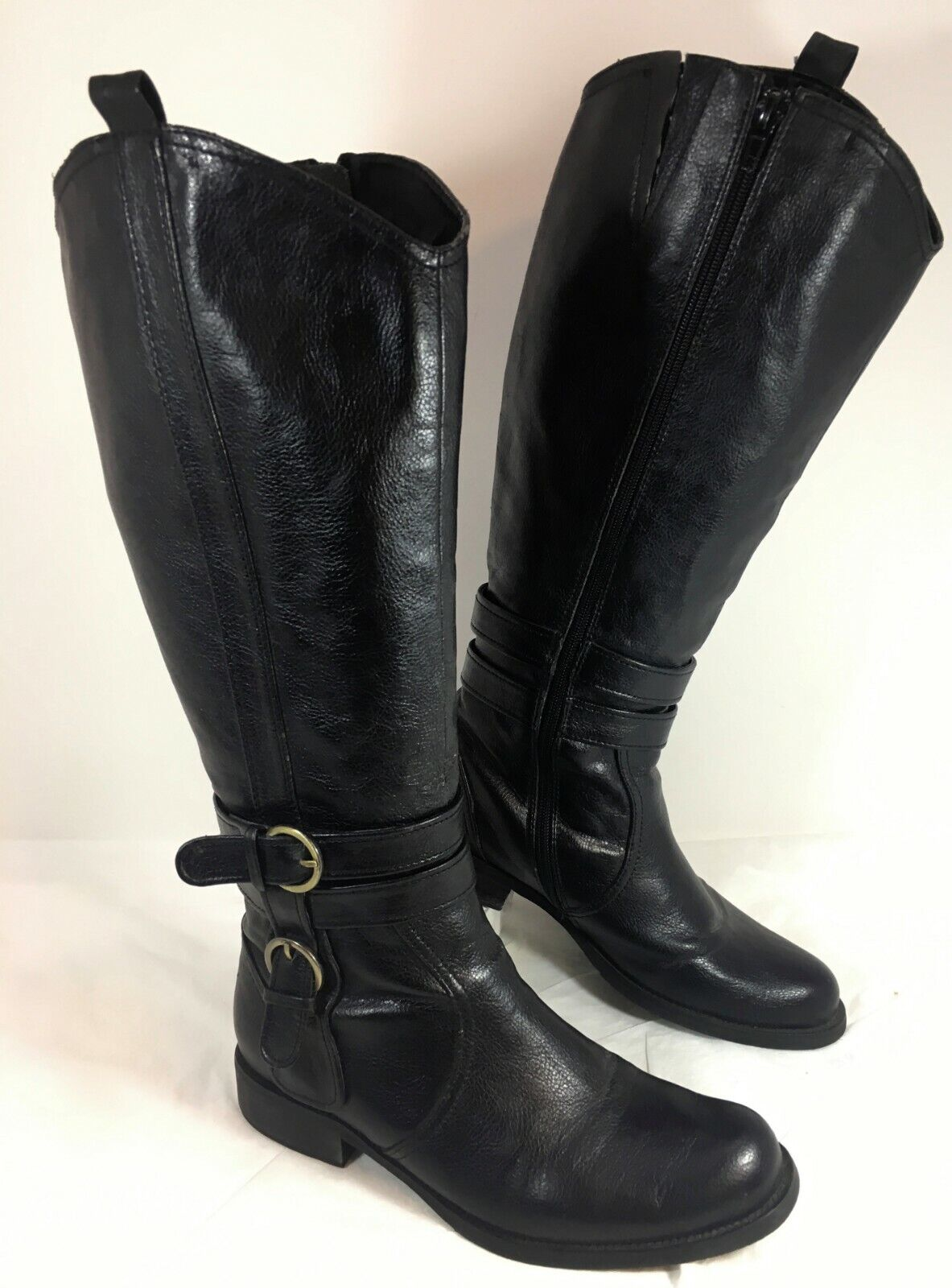 M2 Miz Mooz Riding Style Black Faux leather Knee High Boots Sz 7.5