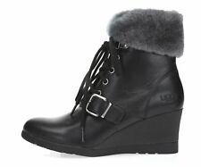 445f9d54df2 UGG Janney Black Waterproof Leather Sheepskin Ankle Womens BOOTS ...