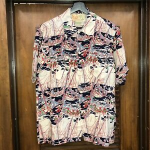 Vintage-1950-039-s-Nautical-Cartoon-Muster-Rayon-Hawaii-Rockabilly-Shirt-Large