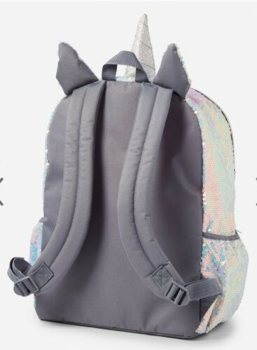 Justice Shimmer UNICORN J Initial Letter Backpack Sequins Hologram NWT NEW HOLO