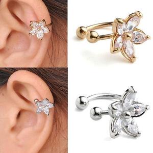 CZ-Crystal-Gem-Flower-Horseshoe-Bar-Clip-Ear-Studs-Cuff-Womens-Earring-Cartilage