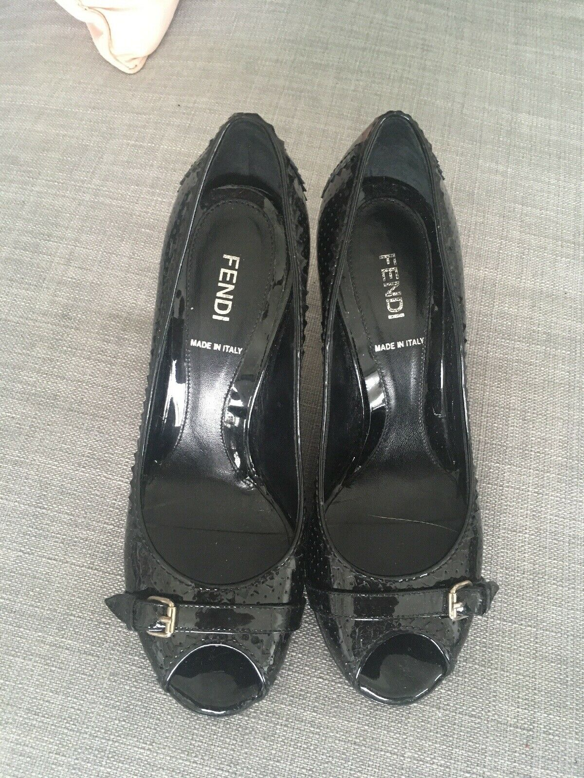 Fendi Peeptoe Heels Heels Heels Patent Leather 36.5 316474