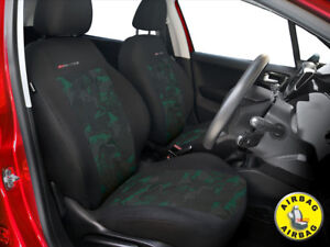 Car-seat-covers-for-front-seats-fit-Mazda-323F-grey-green-pair