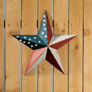 18-034-Primitive-Rustic-Country-American-Flag-Metal-Barn-Star-Yard-Outdoor-Decor
