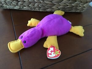 TY RETIRED 1993 Patti The Platypus Beanie Baby - Purple with Gold ... e9abc9f8019