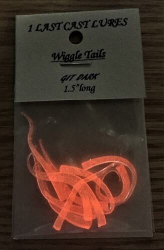 1pack of GIT Dark Wiggle Tails in Orange ice fishing 1 last cast lures