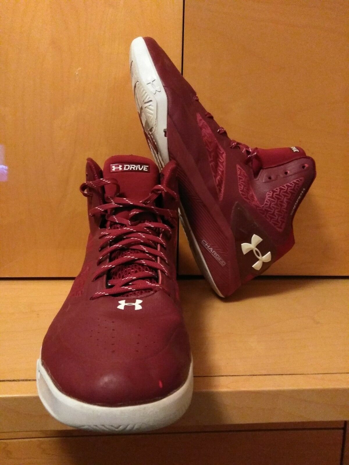 Under Armour ClutchFit Drive 2 sz 14 Basketball Shoes Cardinal Red White Curry