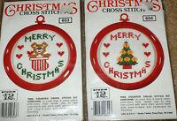 Christmas Cross Stitch Teddy Bear & Tree Ornament / Frame Kits Nip