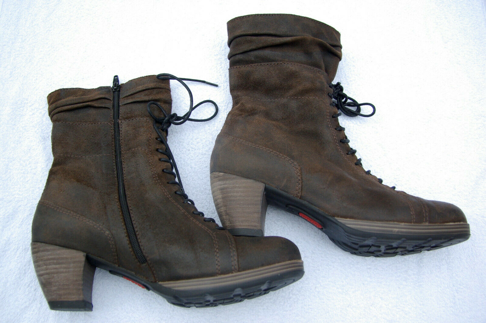 ! novedad! marrones Wolky plataforma cuero-botines en talla 42
