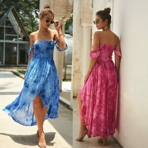 Women-Summer-Hi-Lo-Maxi-Dress-Sexy-Off-Shoulder-Party-Beach-Dresses-Sundress
