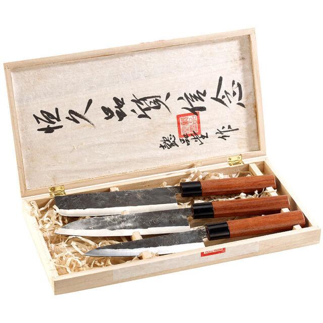 Messer: 3-teiliges Messerset, handgefertigt, mit Echtholzgriff (Scharfes Messer)