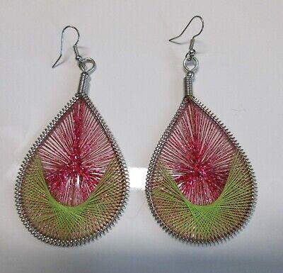 Silver Beaded Teardrop Thread Woven Earrings