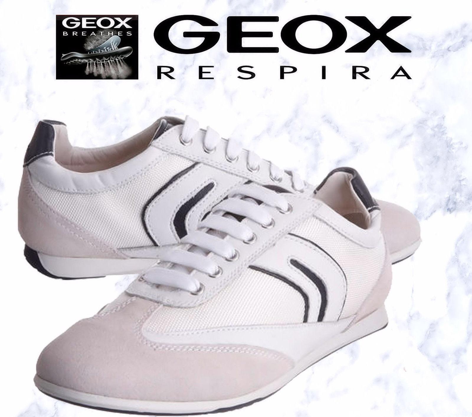 LIMITED Geox White Trainers Size 10 UK Men's U Andrea Respira NIB P&P Secure