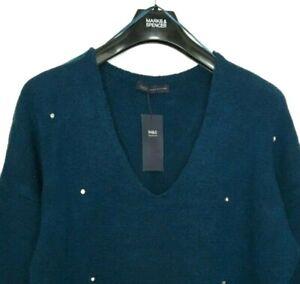 M-amp-S-Donna-Maglione-Blu-Marine-e-Diamante-borchie-V-Collo-18-nuova-con-etichetta-Marks