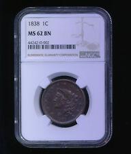 1838 1C BN Coronet Head Cent
