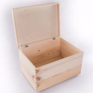 Image Is Loading Large Wooden Storage Memory Box With Lid Pinewood