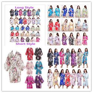 Women-039-s-Kimono-Robe-Plain-Silk-Satin-Robes-Bridal-Wedding-Bridesmaid-Bride-Gown