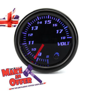 Auto-Voltmeter-12V-Universell-2-Zoll-52-mm7-Farbe-Led-Anzeige-Getoent-Face