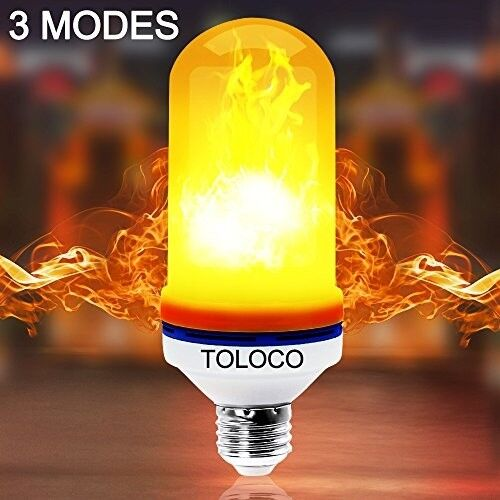 TOLOCO LED Flame Effect Light Bulb E26-1300K 150 Lumens Natural Fire Effect -