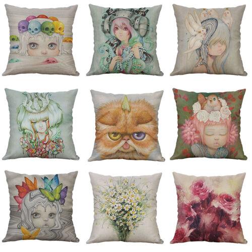 18 Cotton Linen Printing lovely girl Animal Pillow Case Cushion Cover Home Decor
