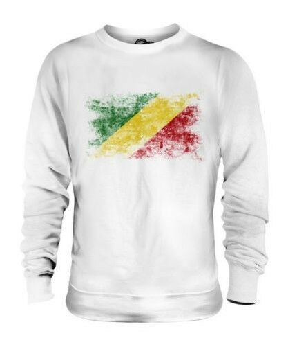 CONGO DISTRESSED FLAG UNISEX SWEATER TOP CONGOLESE SHIRT FOOTBALL JERSEY GIFT