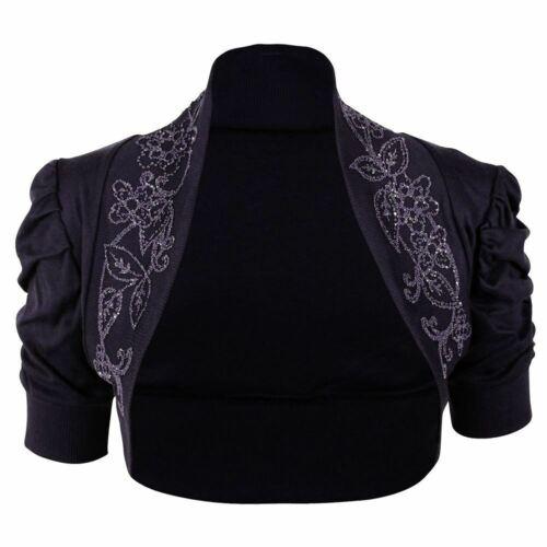 New Ladies Puff Sleeves Cotton Beaded Ruched Bolero Shrug Crop Top Cardigan