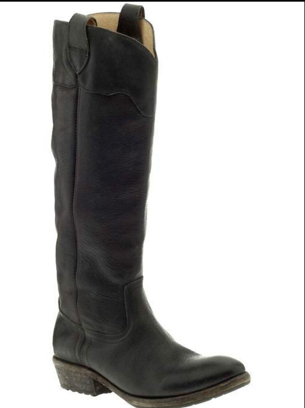 Frye botas botas botas Carson Lug Equitación Tire de la antigüedad con aspecto envejecido Negro Cuero Talla 6  398  calidad de primera clase