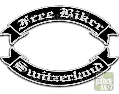 Aufnäher,BikerPatch, FREE BIKER - SWITZERLAND im Set 30cm gestickt! ALLE FARBEN!