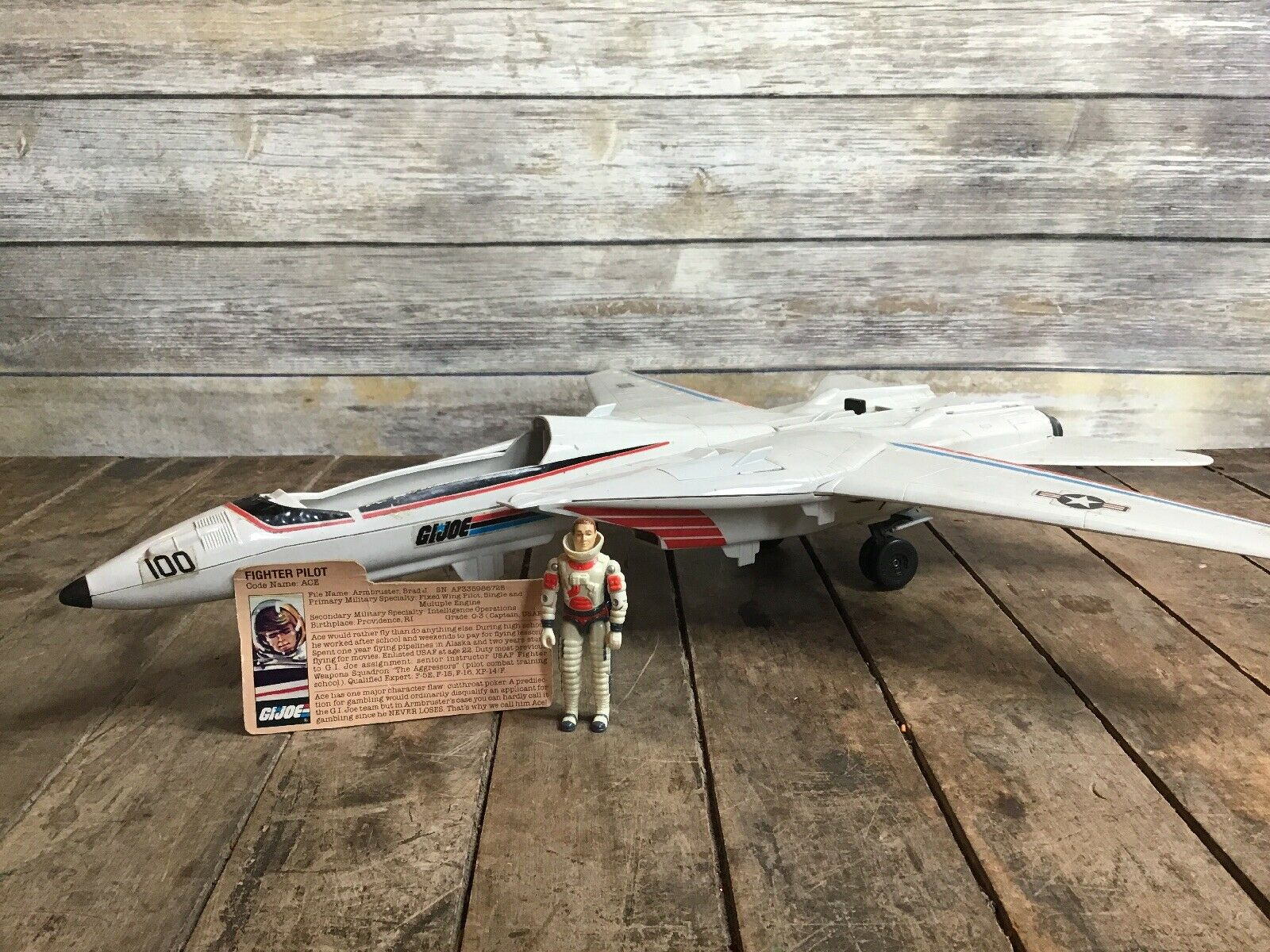Vintage 1983 GI Joe XP14F cielo Striker Jet w Captain Ace Pilot & File autod ARAH