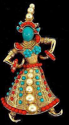 Vtg Rare BOUCHER Thai Asian Siamese DANCER Figural Pin Brooch