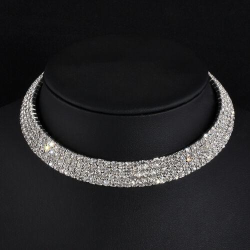 Collar Gargantilla Diamante Cristal de Imitación Boda Fiesta De Mujer Cadena De Plata
