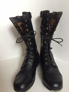 Bamboo Lace Up Boots Black Women's SZ 8