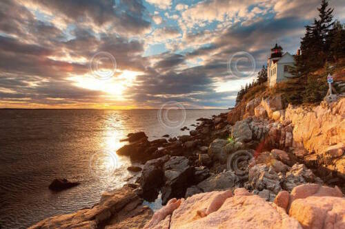 Michael Hudson Bass Harbor Lighthouse Photograph Sunrise Print Poster 24x36