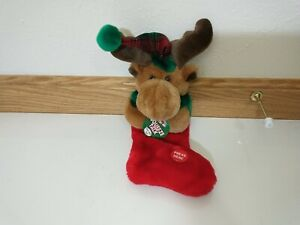 "Reindeer Plush 3D Christmas Stocking Squeeze & Talk HO HO HO MTY Int'l 12"" NWT"