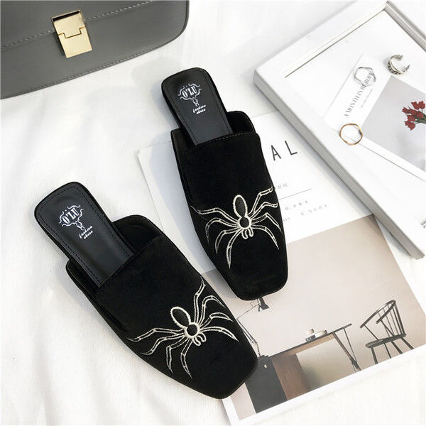 zapatillas elegantes zuecos negro terciopelo suela cómodo como piel 9920