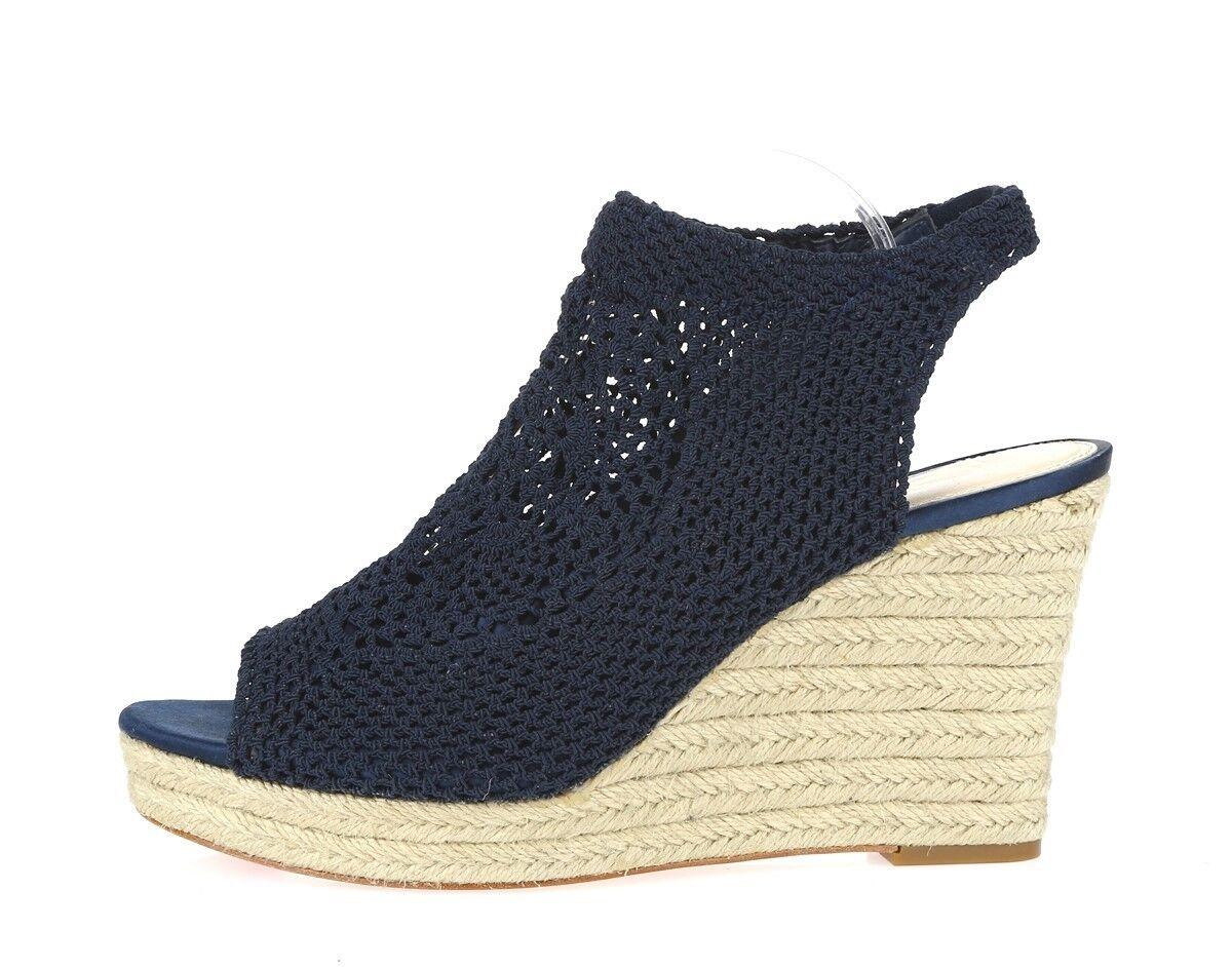 Damenschuhe VC SIGNATURE navy Blau / crochet fabric Sandale / wedges sz. 10 M NEU