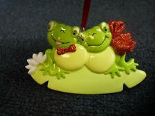 Rudolph & Me FROG COUPLE Personalized Christmas Ornament (h1074)