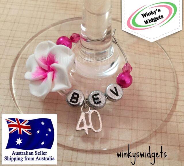 40th Birthday Wine Glass Charm