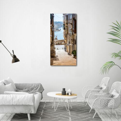 Wand-Bild Kunstdruck aus Hart-Glas Hochformat 60x120 Straßen in Malta
