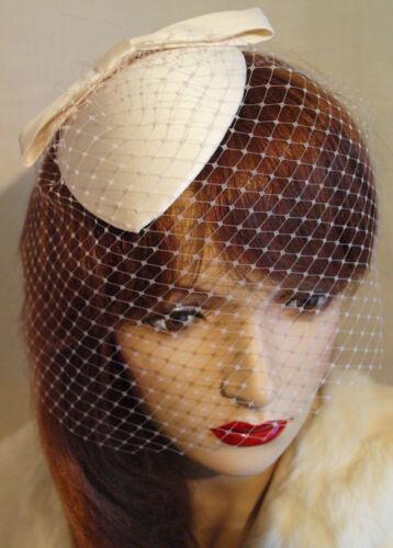 Chapeau Jules Vintage Style Veil Hat Satin Wedding Bride Hat Ivory Handmade