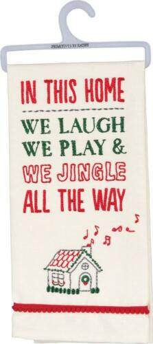 NEW Primitives By Kathy In This Home Embroidered Christmas Kitchen Towel 39067