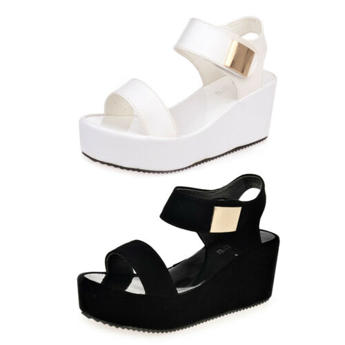 Women Wedges Middle Heel Platform Sandals Ladies Open Toe Chunky Summer Shoes CN