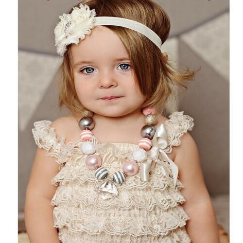 Newborn Baby Girl Lace Floral Jumpsuit Romper Strap Ruffle Sunsuit Clothes Dress