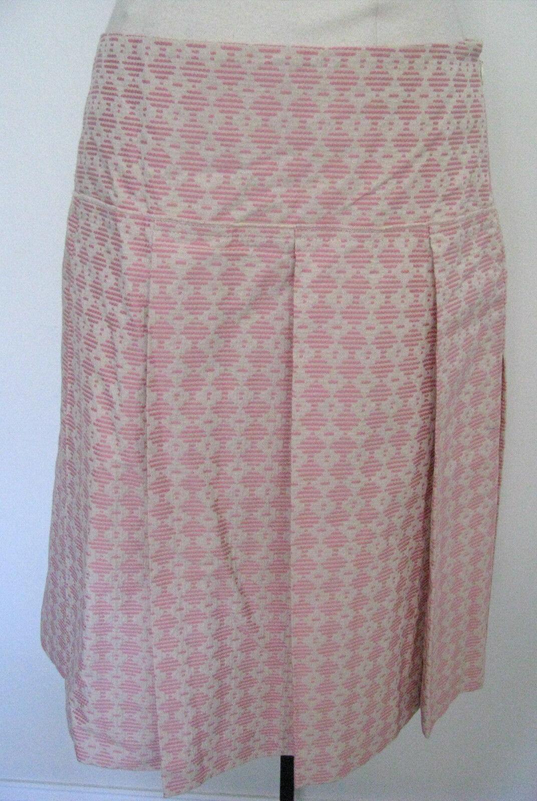 BCBG MAXAZRIA Cream With Pink Design 100% Cotton Skirt Size 4,NWT,  210.00